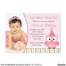Invitations Birthday Cards 1ra Invitación Del Cumpleaños Del Búho Con La Foto