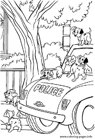 dalmatians police car coloring pages printable