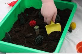 planting trees sensory bin for earth day