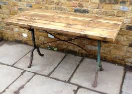 cast iron outdoor table for sale reclaimed pine and cast iron industrial table salvoweb uk