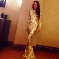 Long Sleeve Gold Sequin Prom Dress Prom Dresses Dressesss