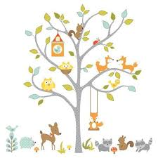 woodland fox and friends tree wall stickers roommates