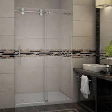 frosted shower stalls kits showers the home depot completely frameless sliding shower door