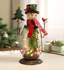 lighted christmas decorations indoor lighted holiday snowman lantern indoor holiday decorations