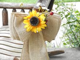 Sunflower Wedding Decorations Large Burlap And Sunflower Pew Bows Or Aisle Markers Chair