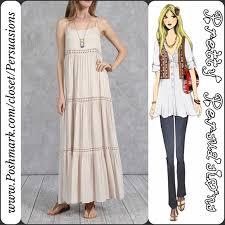 nwt cream beige boho maxi dress rayon cotton spaghetti straps