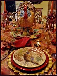 tablescape with turkey centerpiece and pottery barn turkey salad