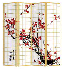 japanese room divider shoji rice paper 4 panel sakura