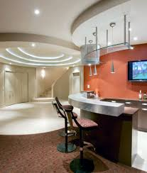 wall carpet tile to carpet transition basement contemporary with bar beige