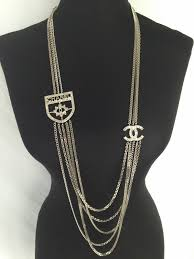 long silver crystal necklace images 100 authentic chanel crystal cc crest runway multi layer long jpg