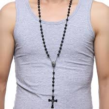 long bead chain necklace images 76cm chain black stainless steel bead chain rosary jesus christ jpg