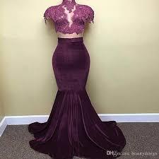 2017 cap sleeves black purple velvet prom dresses mermaid high