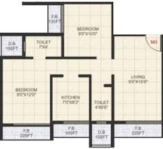 650 Square Feet Floor Plan 650 Sq Ft 2 Bhk 2t Apartment For Sale In United Properties Kailash