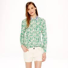 j crew jeweledcollar shirt in liberty jody floral in green lyst