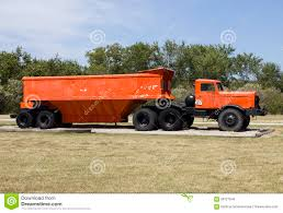 1940s hauling truck with belly dump trailer stock photo image
