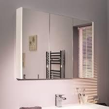 White Mirror Cabinet Bathroom Cuba Aspen 90cm 3 Door White Mirror Cabinet