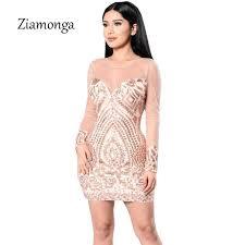 sequin dresses ziamonga see through women sequin dresses gold black bandage dress