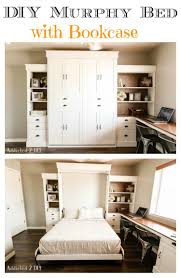 modern farmhouse murphy bed with bookcase
