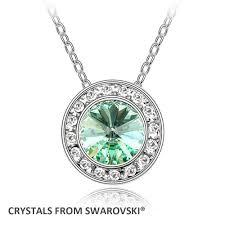 swarovski necklace round images Round pendant necklace with crystals from swarovski chokers jpg