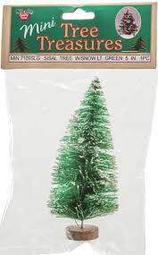5 mini sisal light green tree with snow