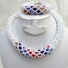 crystal bead necklace images White infused with multi color crystal beads necklace bridal jpg
