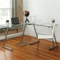 Glass Top L Shaped Computer Desk Techni Mobili Dachia L Shape Glass Top Computer Desk Rta 3802 Gls