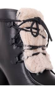 womens high heel boots australia ugg womens ugg australia analise leather boot with exposed fur