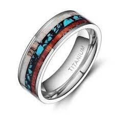 mens titanium rings men s wood rings vintage wood inlay titanium rings just