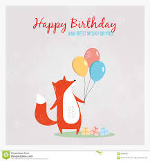 cute happy birthday card with funny fox stock vector image