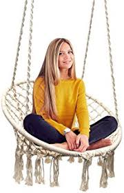 amazon com macrame hammock chair 100 hanmade cotton beige and