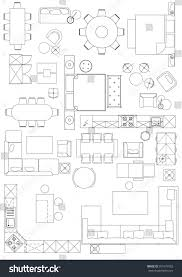 Architectural Symbols Floor Plan by Standard Furniture Symbols Used Architecture Plans Stock Vector