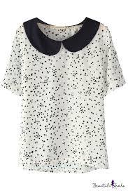 white short sleeve stars print peter pan collar blouse