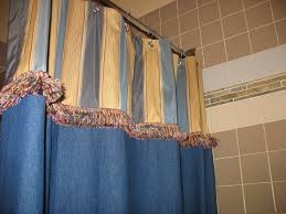 blue curtain with stainless rod in modern luxury bathroom design