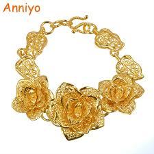 bracelet gold women images Anniyo big flower bracelet gold color hand chain bangle women jpg