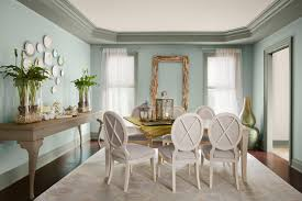 in this dining room they used benjamin moore earth sky colors