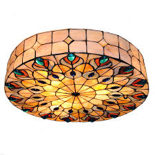 stained glass ceiling light fixtures baroque retro 3 light tiffany style stained glass peacock big