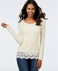 sweaters macys inc international concepts lace hem sweater only at macy s