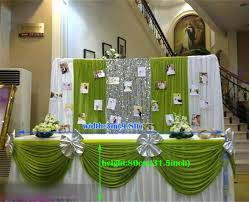 Green Table L 300cm L 80cm H White Wedding Table Skirt With Green Table Swag