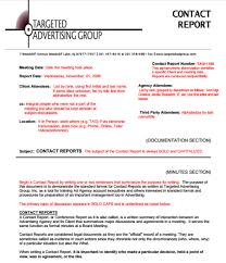 conference report template contact report templates find word templates
