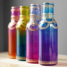 Vase Home Decor Boho Henna Art Vase Ombre Home Gift Glass Bottle Table Decor