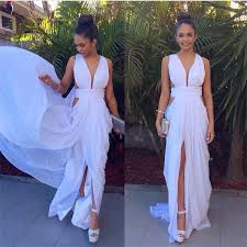 long prom evening dress white cut low gown for women