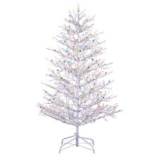shop ge 5 ft pre lit winterberry white artificial christmas tree