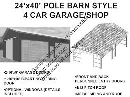 barn style garage plans 63 24 u0027 x 40 u0027 pole barn plans 4 car garage plans sds plans