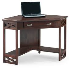 Oak Corner Computer Desk Leick 48 In Corner Computer Writing Desk Chocolate Oak