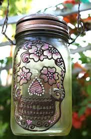 solar light crafts mason jar solar light day of the dead sugar skull sun jar
