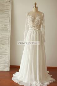 backless lace wedding dresses a line sleeves backless lace chiffon wedding dress with sweep
