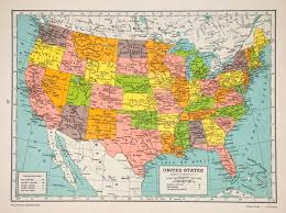 United States America Map by 1947 Lithograph Map United States America Polyconic Projection