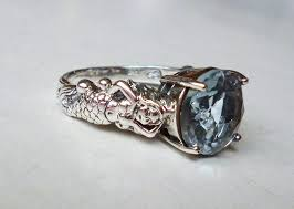 mesmerizing antique style aquamarine mermaid ring sterling