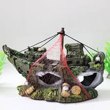 shipwreck aquarium ornament wreck boat sunk ship fish tank