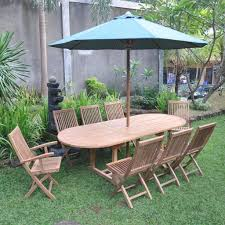 simple ideas for garden table and folding chairs with umbrella